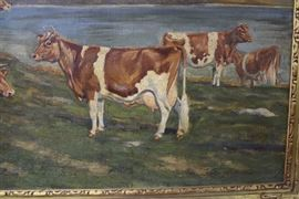 Attributed To Edwin Megargee 40 1/4 W x 27 H Oirginal Oil on Canvas