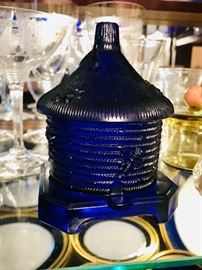 Vintage Cobalt Blue carnival glass honey pot