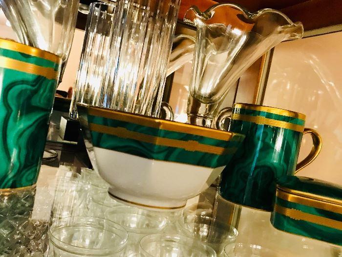 CHRISTIAN DIOR MALACHITE CHINA - 1 trinket box, 2  Coffee Mugs, Octagonal Vegetable Bowl in mint condition