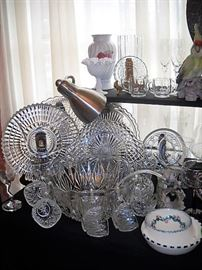 GLASS PLATTERS AND SQUARE PUNCH BOWL