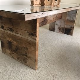 Wonderful Handcrafted Table/Glass Top/removable downstairs