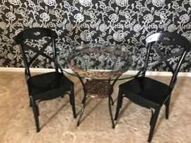 Small round glass top table/ 2 chairs