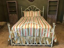 Wrought iron queen bed/ Serta mattress/ reversible Waverly bedding