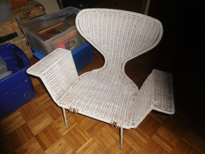 Mid Century wicker/iron chair