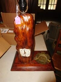 Folk art cypress knee lamp-clock