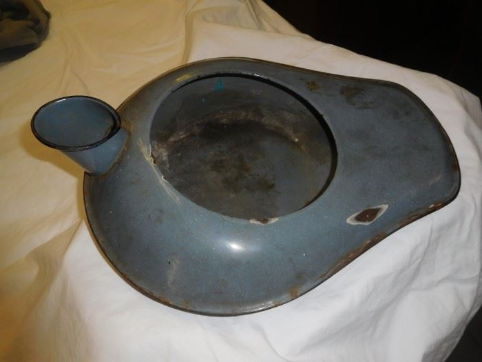 Enamel dual purpose bed pan