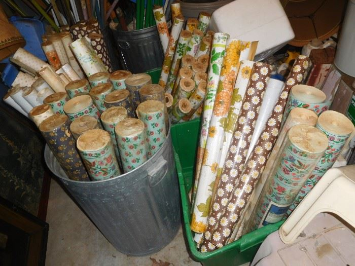 Many rolls of vintage wallpaper, many unopened