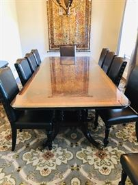 Huge Maitland dining table with inlaid wood  - will seat up to 12 with leaves in - but can be much smaller and more intimate if desired. Includes a full sized, custom glass top to protect wood surface.