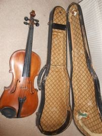 Violin with wood case