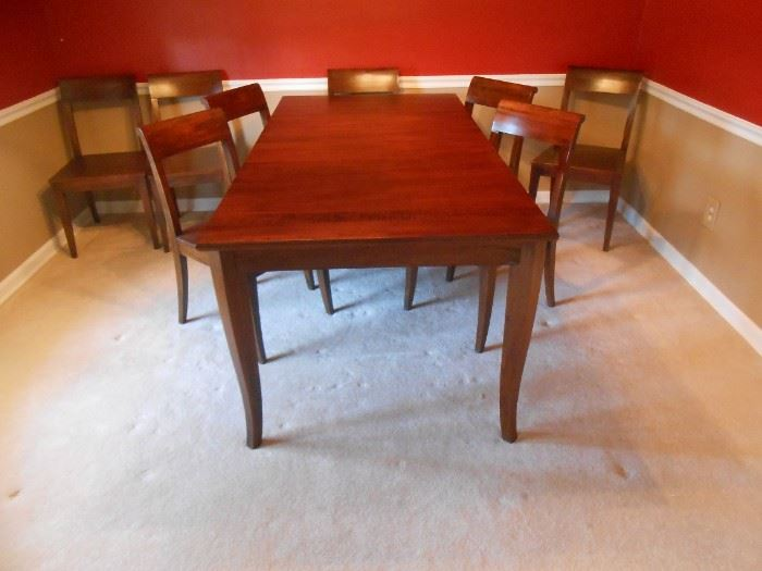 Crate & Barrel wood table with 8 chairs