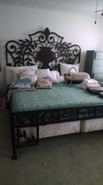 Intricate metal king size bed