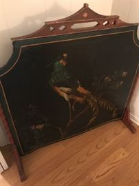 Asian inspired antique painted fire screen