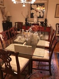 Contemporary dining table, reproduction chairs purchased from Georgian Furniture Co., New Orleans