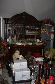 (Have not reached this area yet) Hand made bar from antique bed with slide out cabinets behind