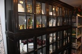 Super cool 3-section painted wall cabinet with glass doors