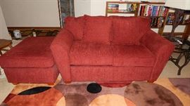 DEEP RED LOVE SEAT & OTTOMAN, SOLD SEPERATLY