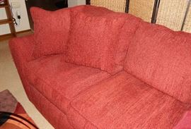DEEP RED MATCHING FULL SIZE SOFA. SOLD SEPERATELY OR AS A SET W/LOVE SEAT