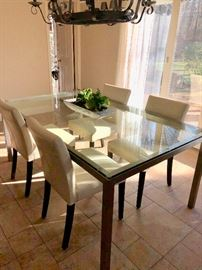 Chrome & glass dining table with 4 chairs