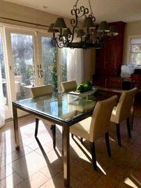 Chrome & glass dining table & chairs