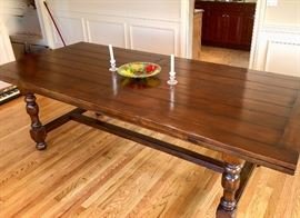 """Large rustic Farmhouse Table measures 94"""" x 42"""" with two leaves"""