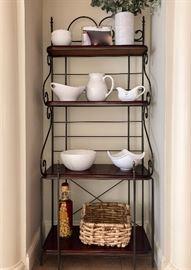 Wood & iron Bakers Rack & kitchen essentials