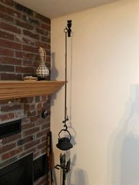Antique Japanese Cast Iron Tea Pot and Hearth Hook