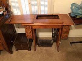 Cabinet of Treadle Sewing Machine (no machine)