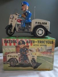 1950's Patrol  Auto Tricycle  IN ORIGINAL BOX, Headlight lights up with batteries