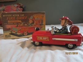 1960's Mystery Action Fire Chief with original box.  Battery operated