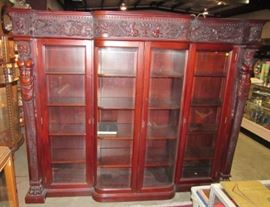 Large Mahogany 4 Door Bookcase w/Carved Figures