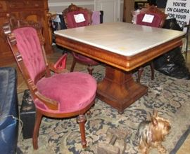 1800's Empire Marble Top Library Table