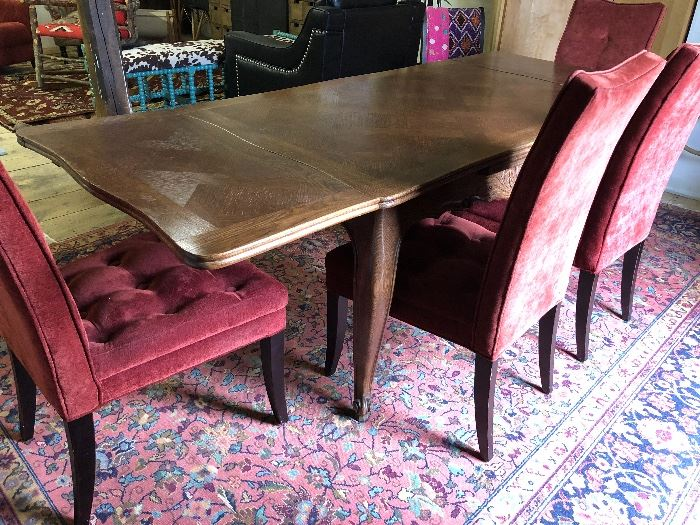 Fabulous and ageless antique expanding dining table can be paired with set of six sweet chairs