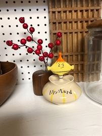 Vintage Howard Holt Pixie mustard jar.  - He's a solo condiment jar, but awefully cute