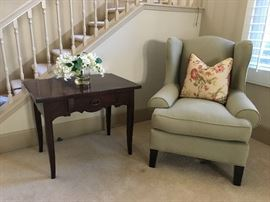 Custome made table and WilliamSonoma super comfortable green chair