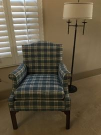 Hickory chair blue checkered accent chair