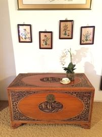 1930's Carved Chinese Wedding Trunk