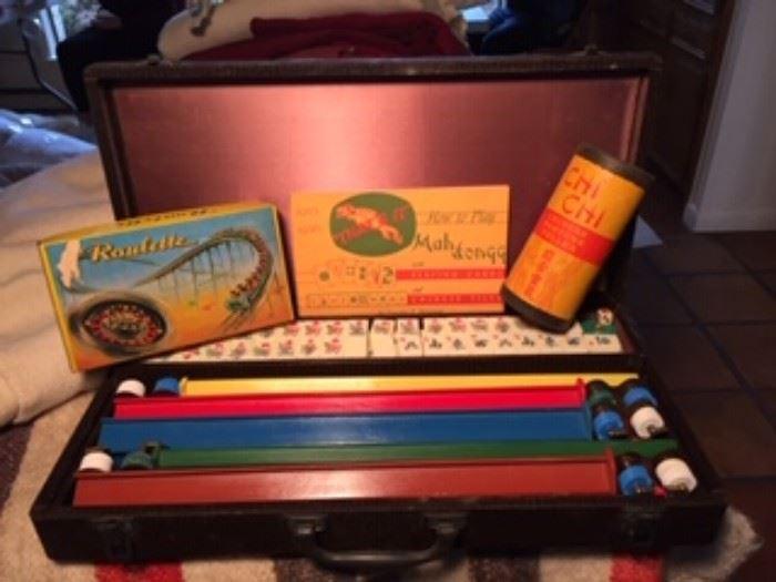 1950's Mahjong Game in original box                                              Lots of Vintage board games