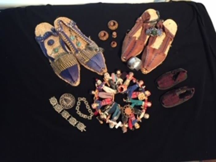 Venezuelan  Hand-made shoes and dolls and sterling jewelry