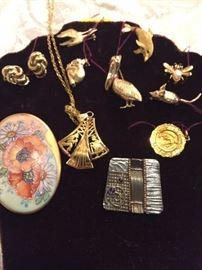 12k, 14k and 18k gold earring, animal pins, pendant and chain