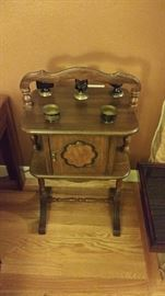 Antique tobacco stand with copper cabinet
