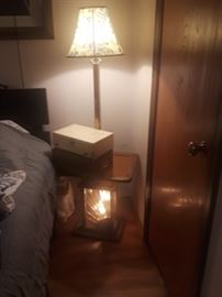 Retro lamp table with nightlight base.
