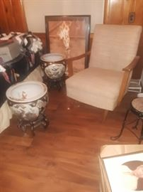 Planters, mid century chair.