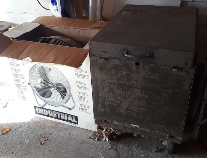 Fan is NIB, wooden box on wheels.