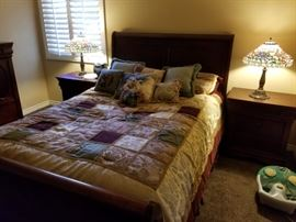 Nice contemporary bedroom set-king size. Matching Tiffany style lamps