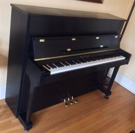 "2003 Henry F. Miller 47"" studio piano with satin ebony finish, Model HMV 047ES - includes matching bench (not shown) In excellent condition inside & out  - played gently & tuned regularly."