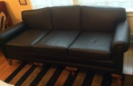 Vintage 7 ft. sofa recovered in black leather