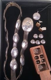 """Obara sterling concha belt from Taos, round sterling pendant (signed MEO), antique English sterling & enamel square cufflinks, Navajo button covers, sterling """"Buck Rogers"""" cufflink & stud set by David Dear (in wood box)"""