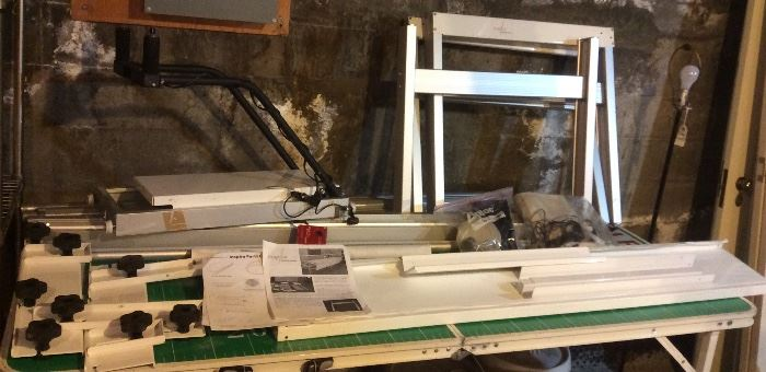 """Inspira quilting frame - partially assembled. It's complete except for one pair of """"quilt roller connector bars with set screws"""". (small metal piece - you buy them online)"""