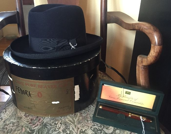 Last minute finds: Stetson Medalist blue fedora with original Byrnie Utz hat box, Cross Townsend fountain pen with box