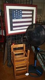 child chairs, flag picture, fan